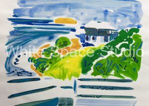 Cabana Evening Water Island St. Thomas Arlene Black Mollo Watercolor Artwork