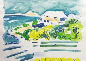 Cabana Morning St Thomas US Virgin Islands Arlene Black Mollo Watercolor Artwork
