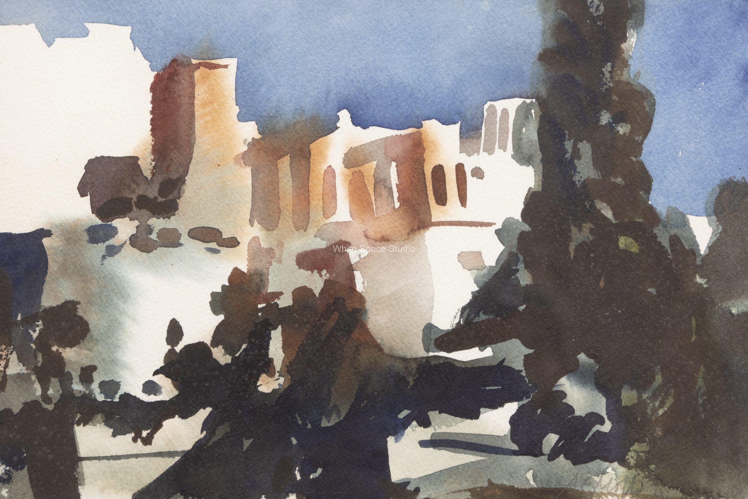Corinth Greek View Greece Architecture Arlene Black Mollo Watercolor Artwork