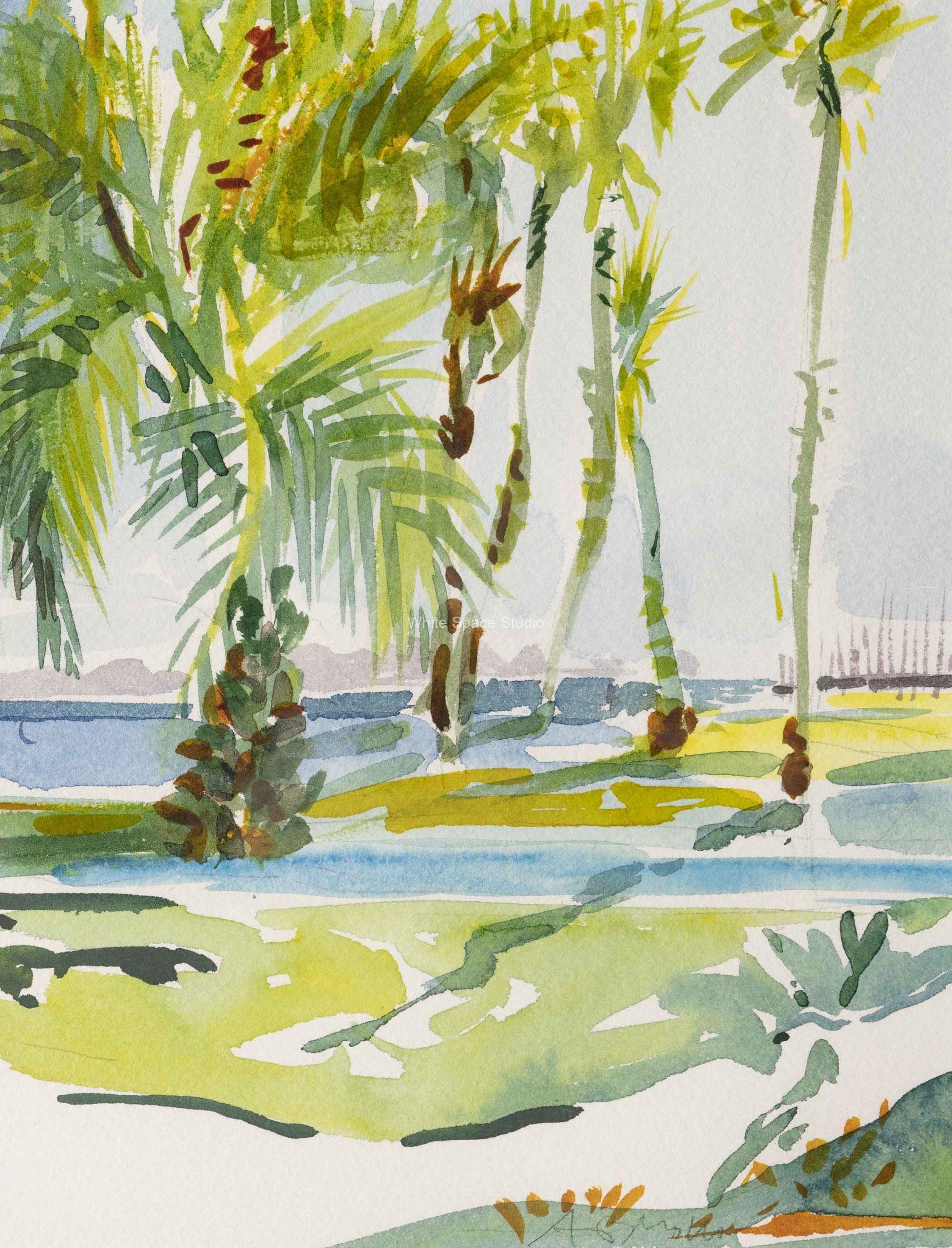 East Beach Palms Santa Barbara California Arlene Black Mollo Watercolor Artwork