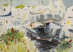 Falmouth Harbor Boat Cape Cod Arlene Black Mollo Watercolor Artwork
