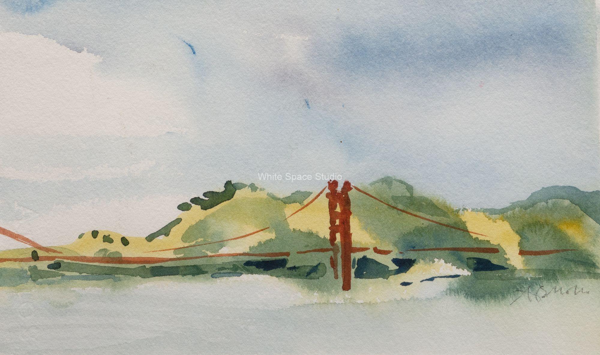 Golden Gate San Francisco Arlene Black Mollo Watercolor Artwork