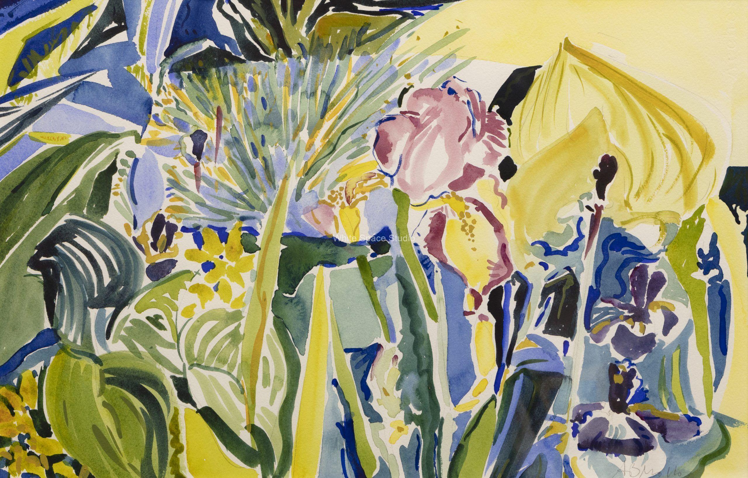 Grand Flora Falmouth Arlene Black Mollo Watercolor Artwork