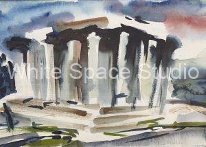 Greek Temple Architecture Arlene Black Mollo Watercolor Artwork
