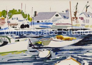 Harbor Dance Woods Hole Cape Cod Arlene Black Mollo Watercolor Artwork