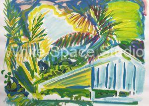 Pink Sky Key West Florida Arlene Black Mollo Watercolor Artwork