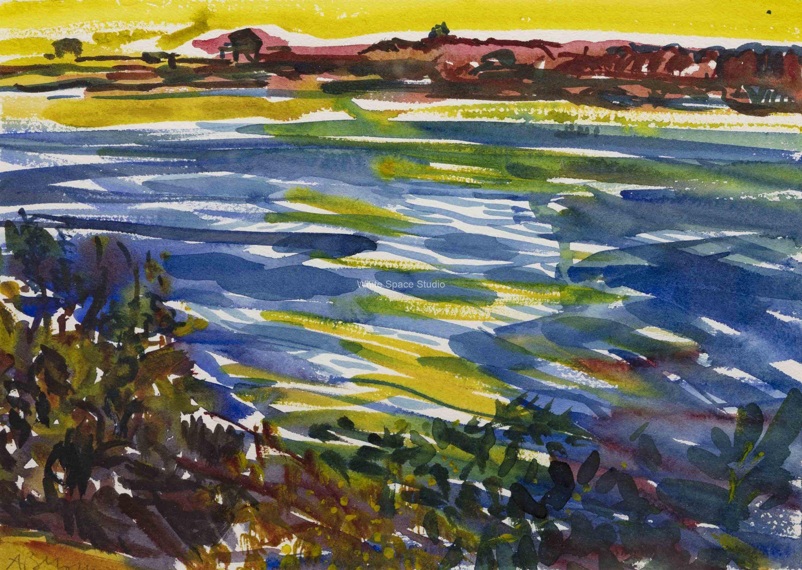 Salt Pond Dusk Surf Drive Beach Falmouth Cape Cod Arlene Black Mollo Watercolor Artwork