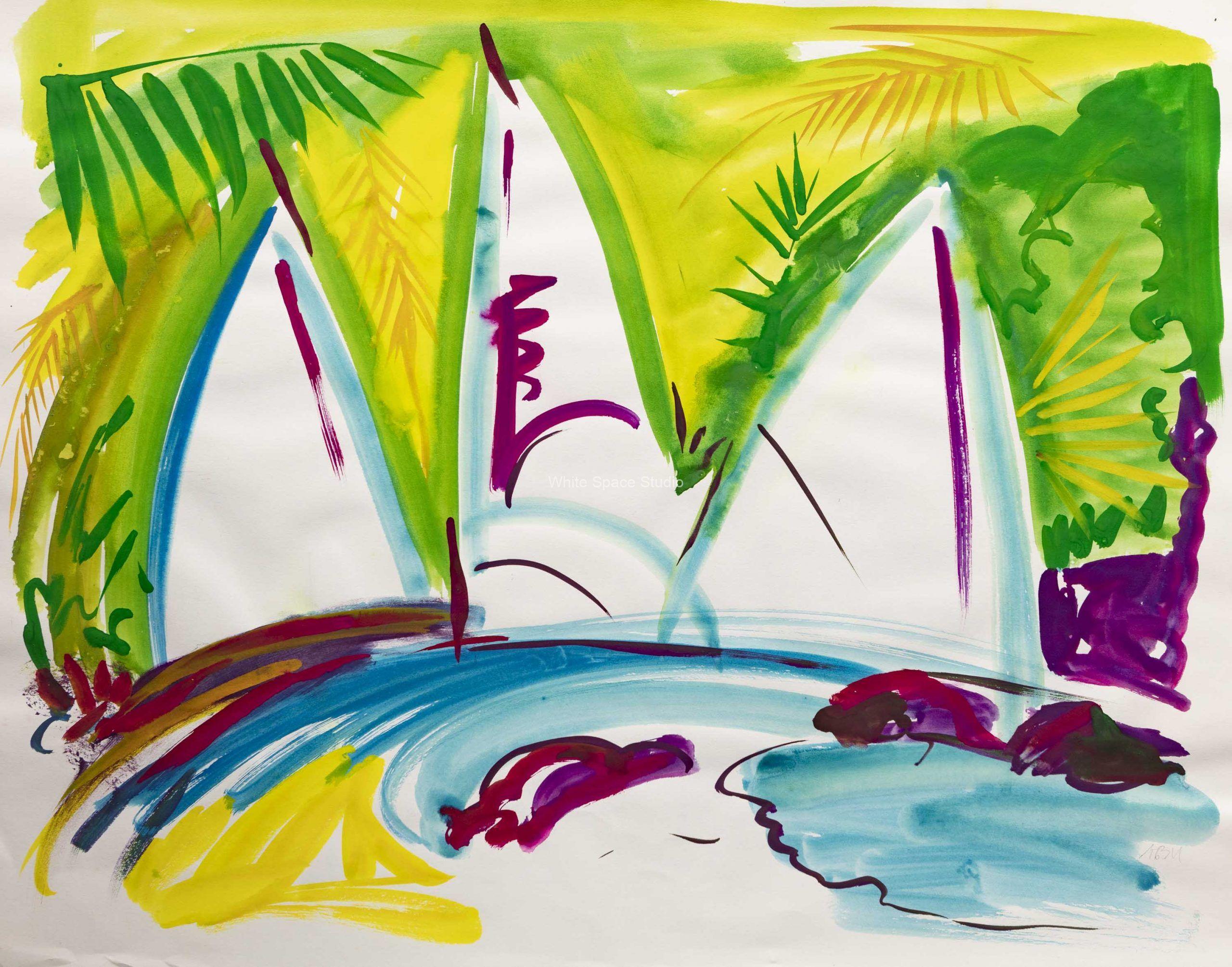 Three Sails Key West Arlene Black Mollo Watercolor Artwork