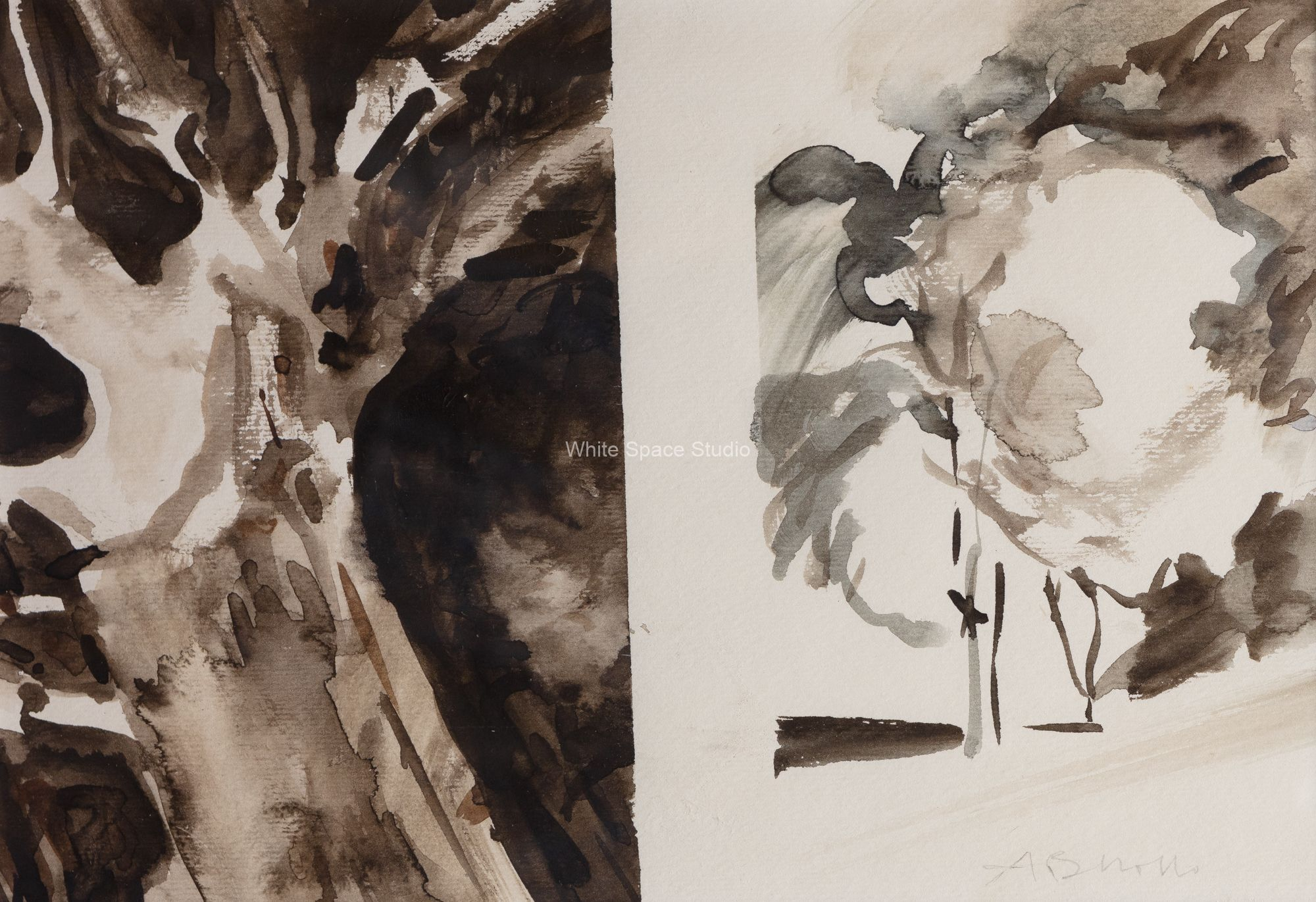 Two Trees Mount Auburn Cambridge Arlene Black Mollo Watercolor Artwork