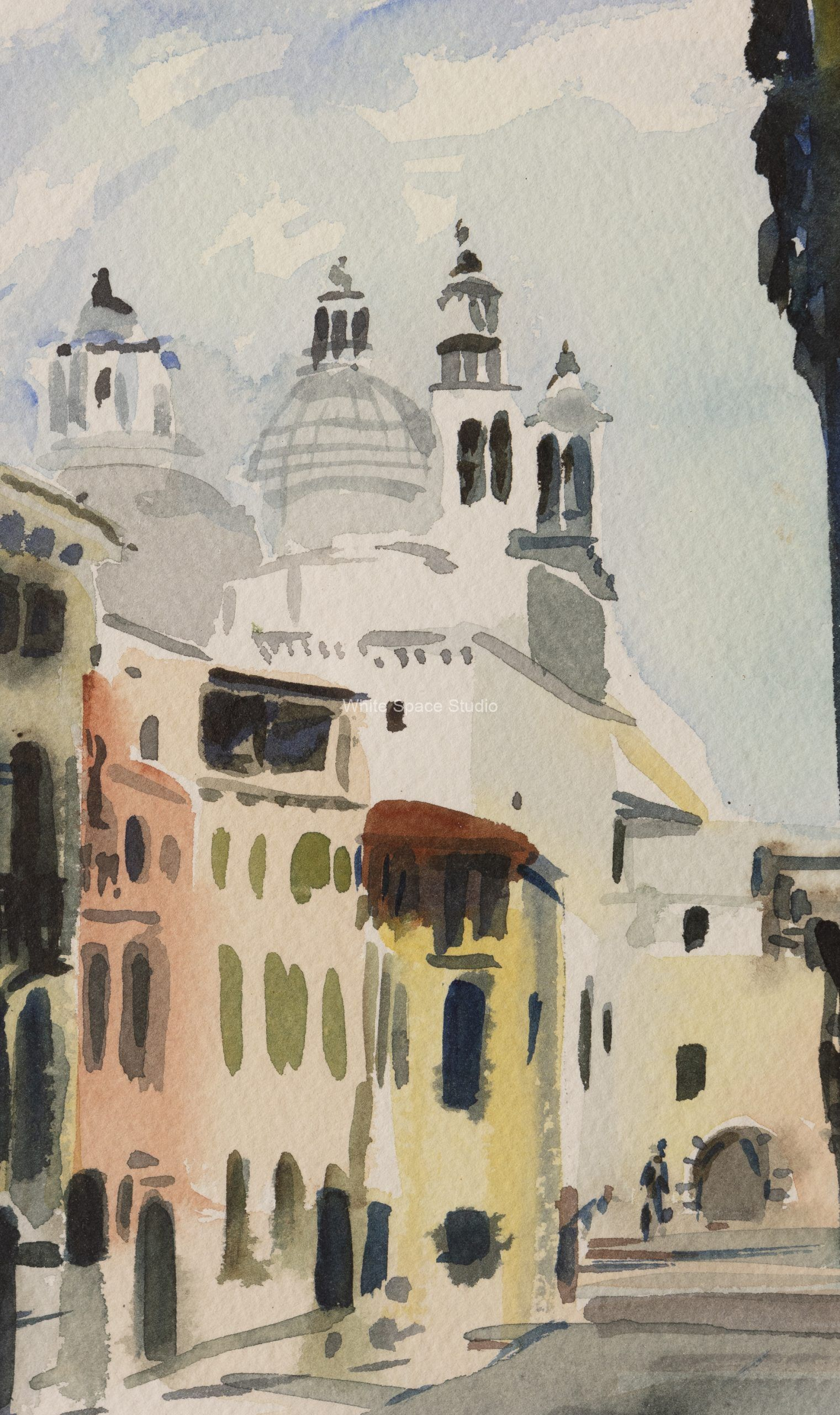 Venetian Campo Italy Arlene Black Mollo Watercolor Artwork