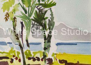 View of Montecito from Santa Barbara Arlene Black Mollo Watercolor Artwork