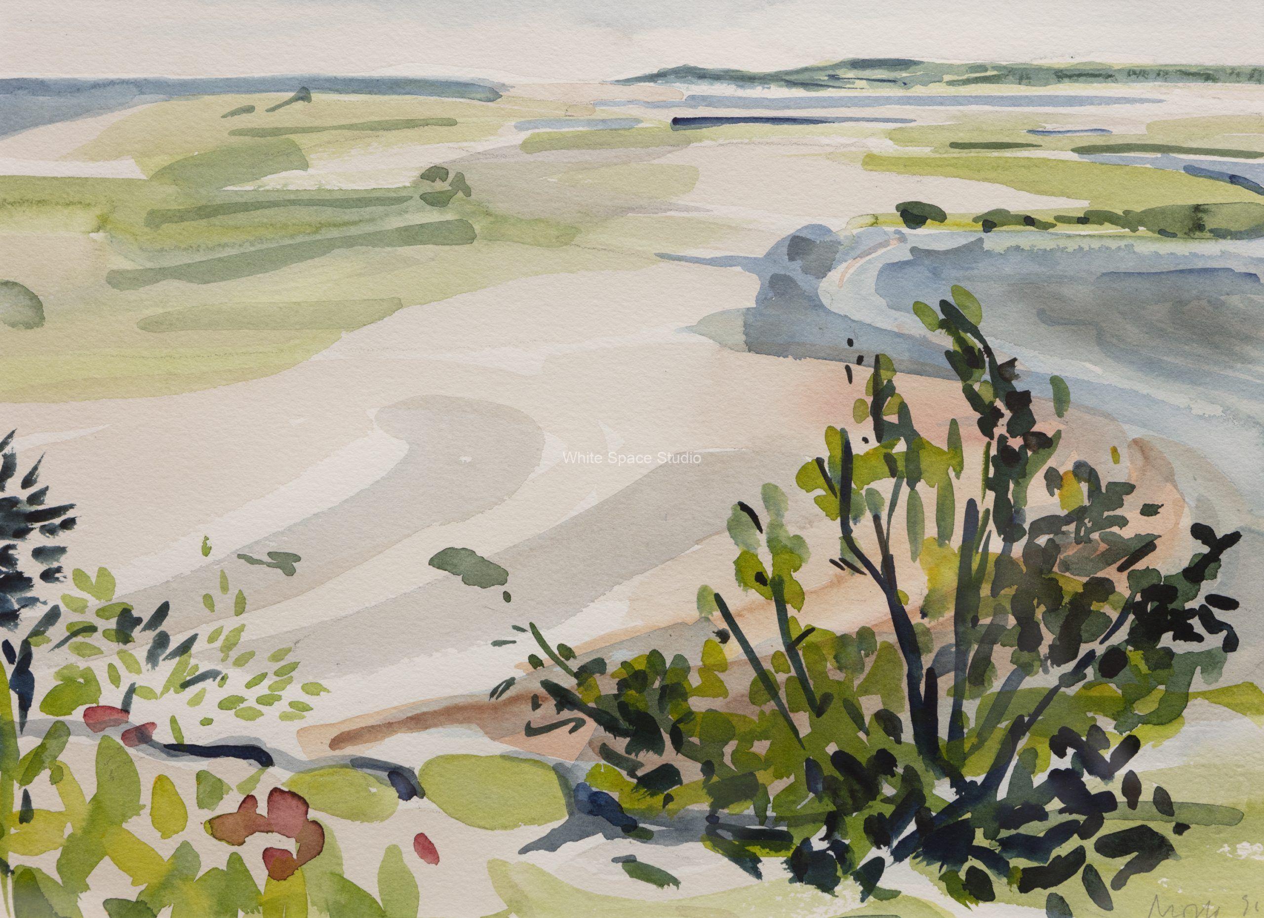 Wellfleet Bay Cape Cod Arlene Black Mollo Watercolor Artwork