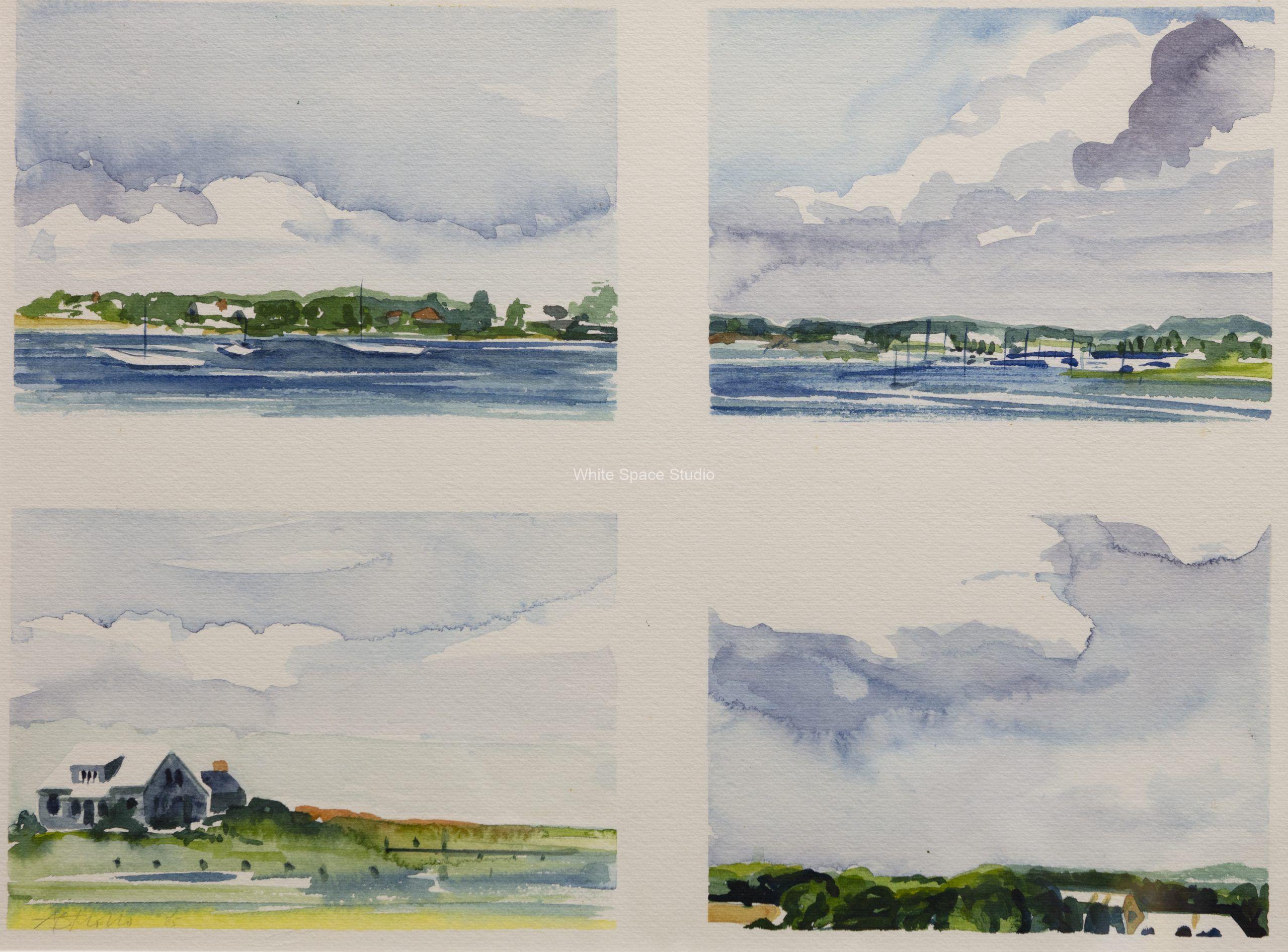 West Falmouth Skyscape Seascape Arlene Black Mollo Watercolor Artwork