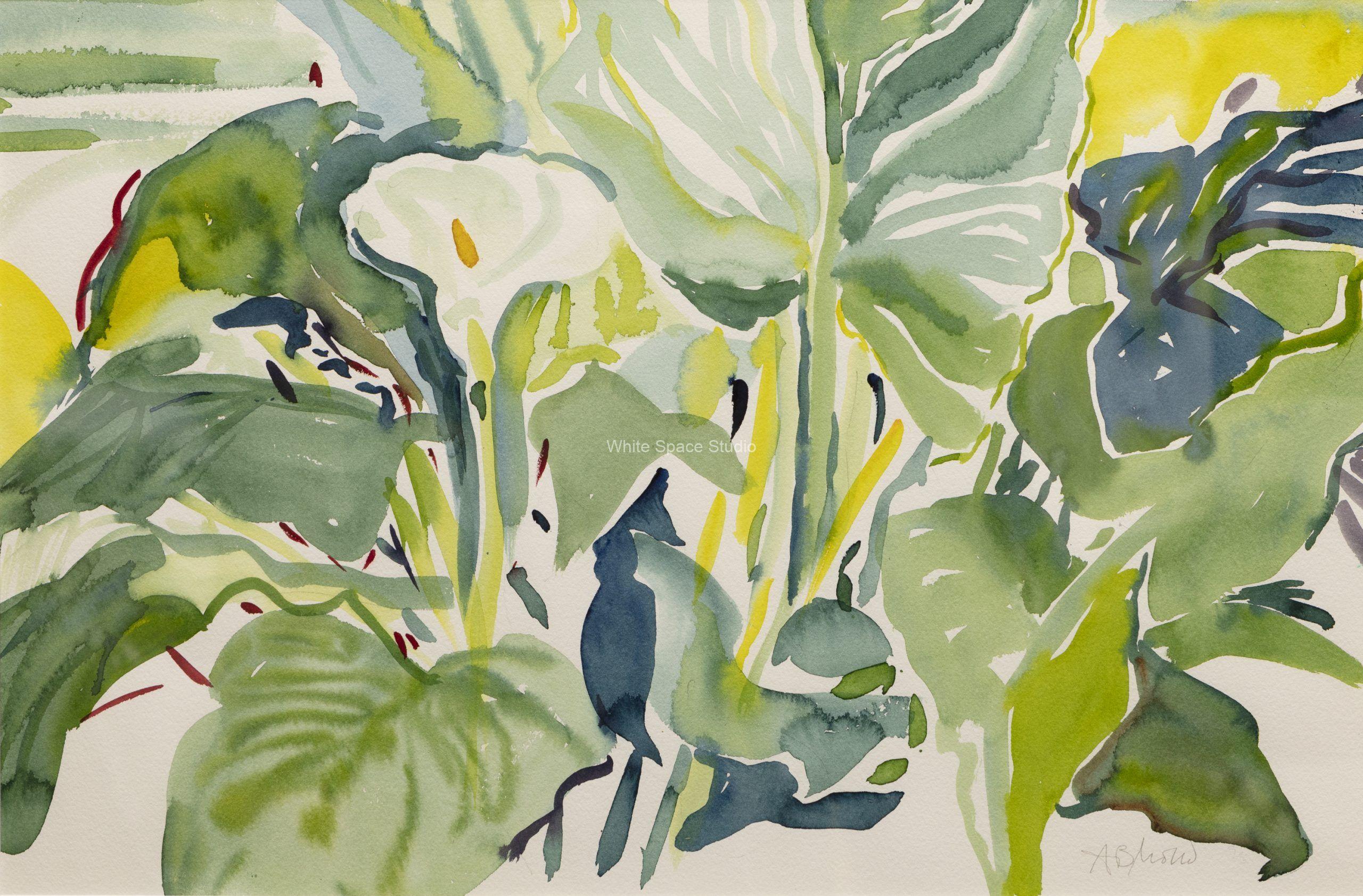 White Trumpet Lily Arlene Black Mollo Watercolor Artwork
