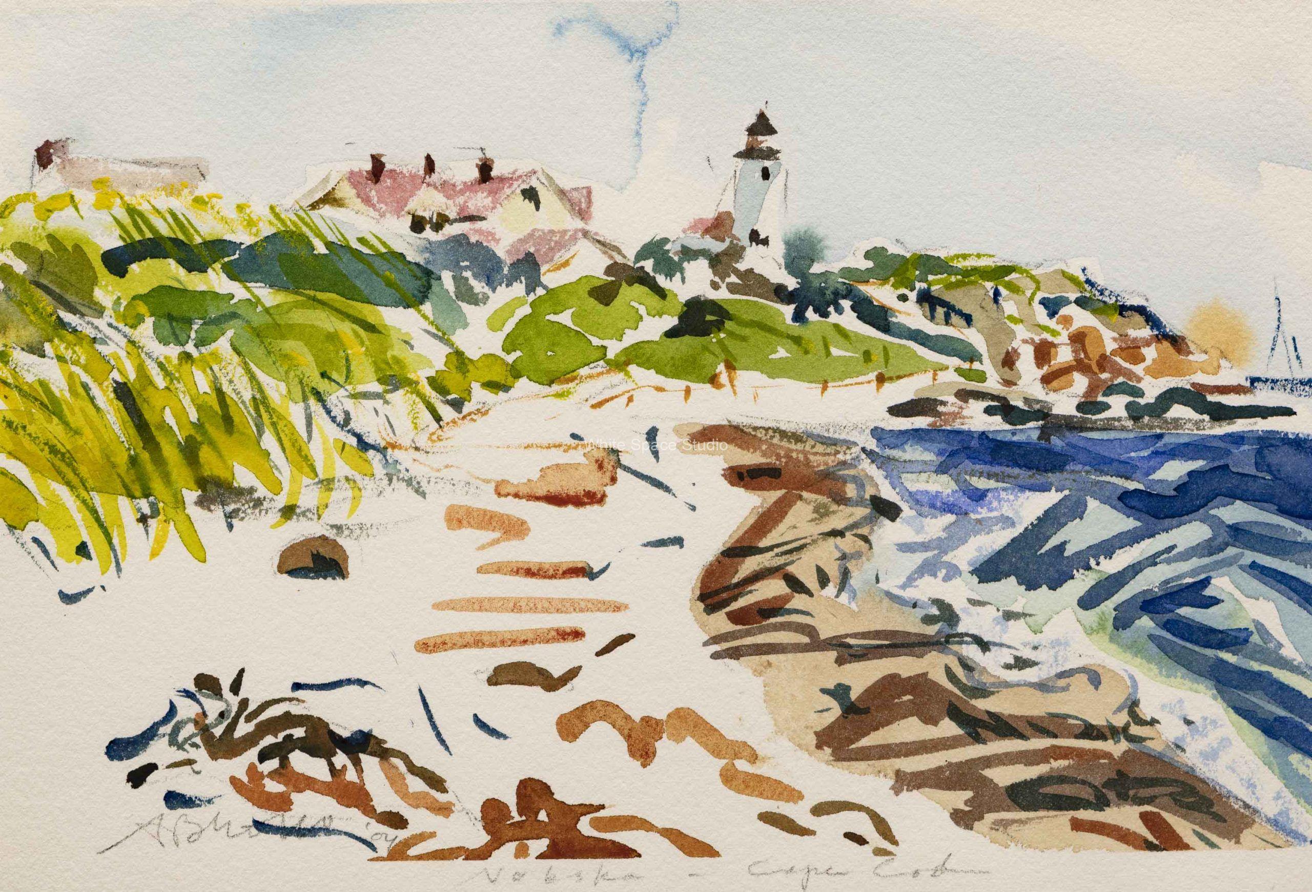 Windy Day Nobska Lighthouse Arlene Black Mollo Watercolor Artwork