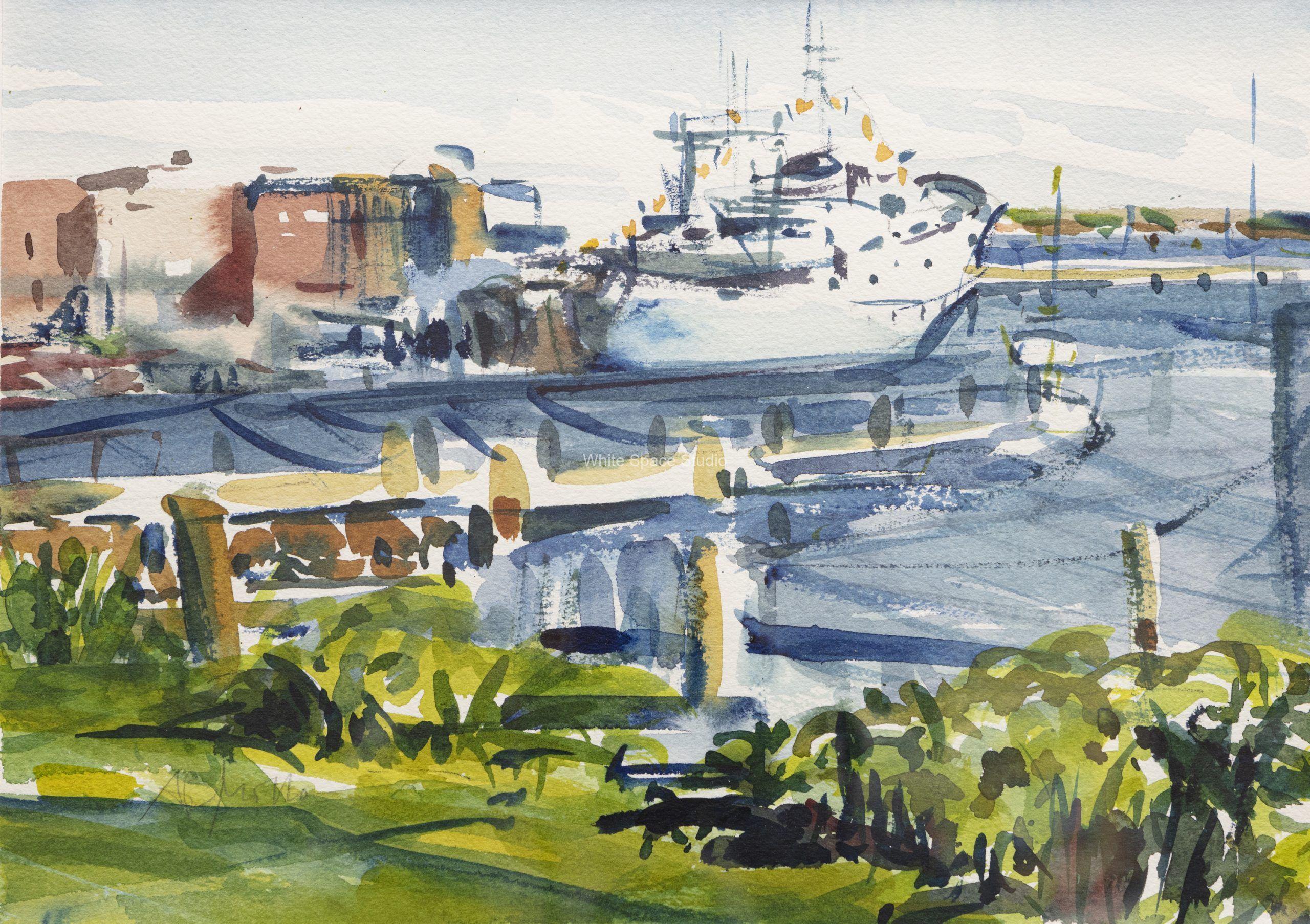 Woods Hole Research Vessel Arlene Black Mollo Watercolor Artwork