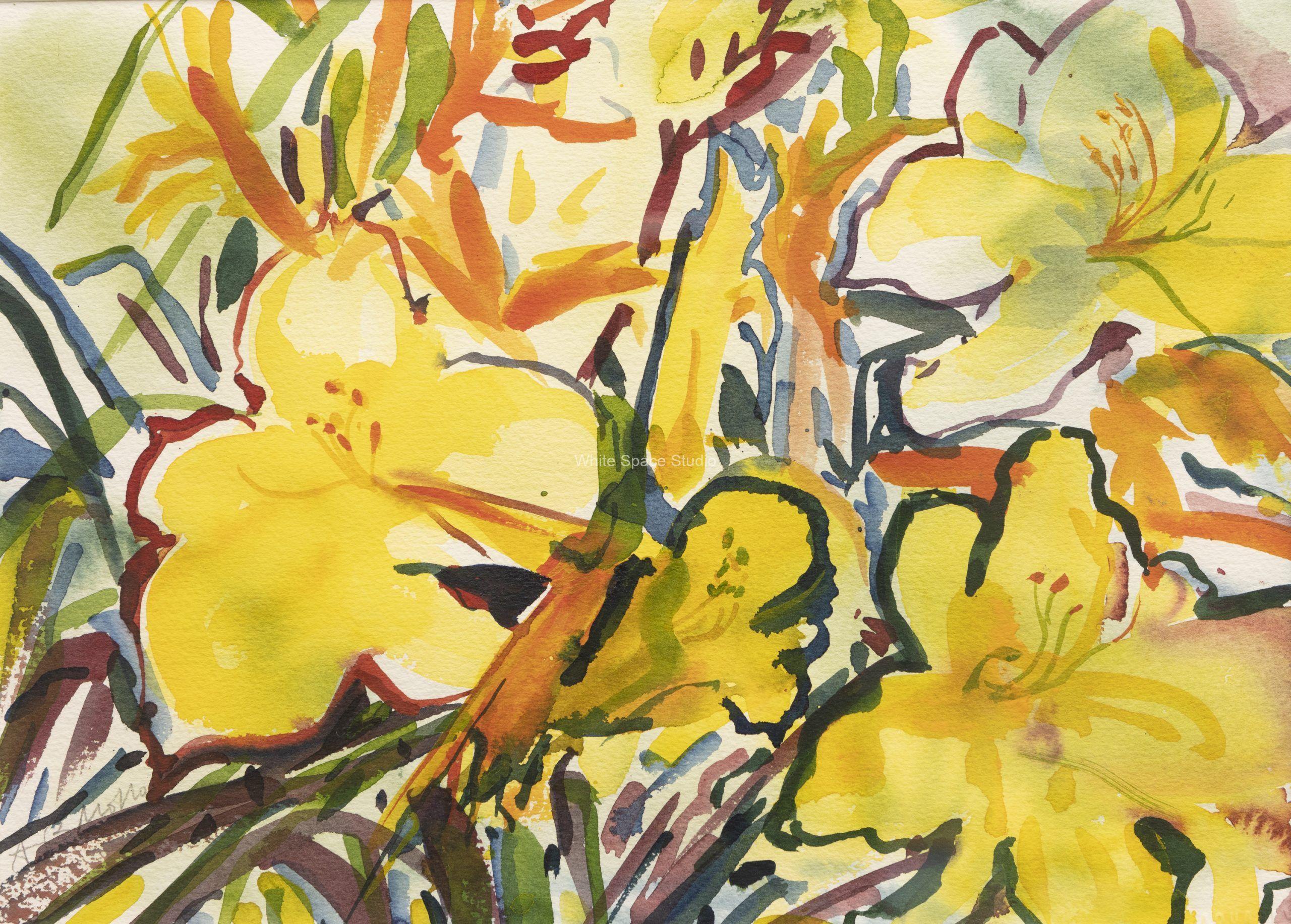 Yellow Garden Pleasant Bay Orleans Arlene Black Mollo Watercolor Artwork