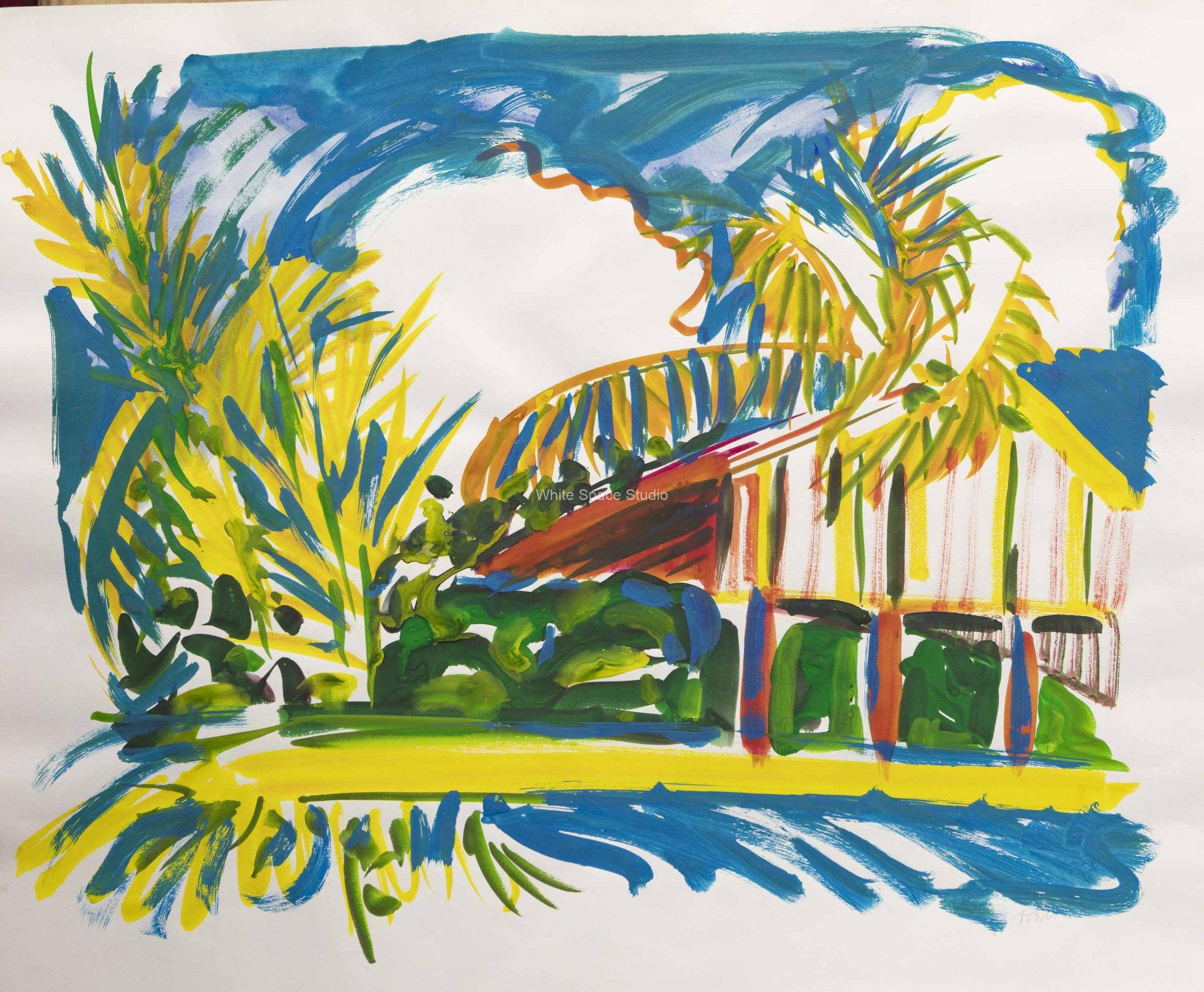Yellow Palms Key West Arlene Black Mollo Watercolors Artwork